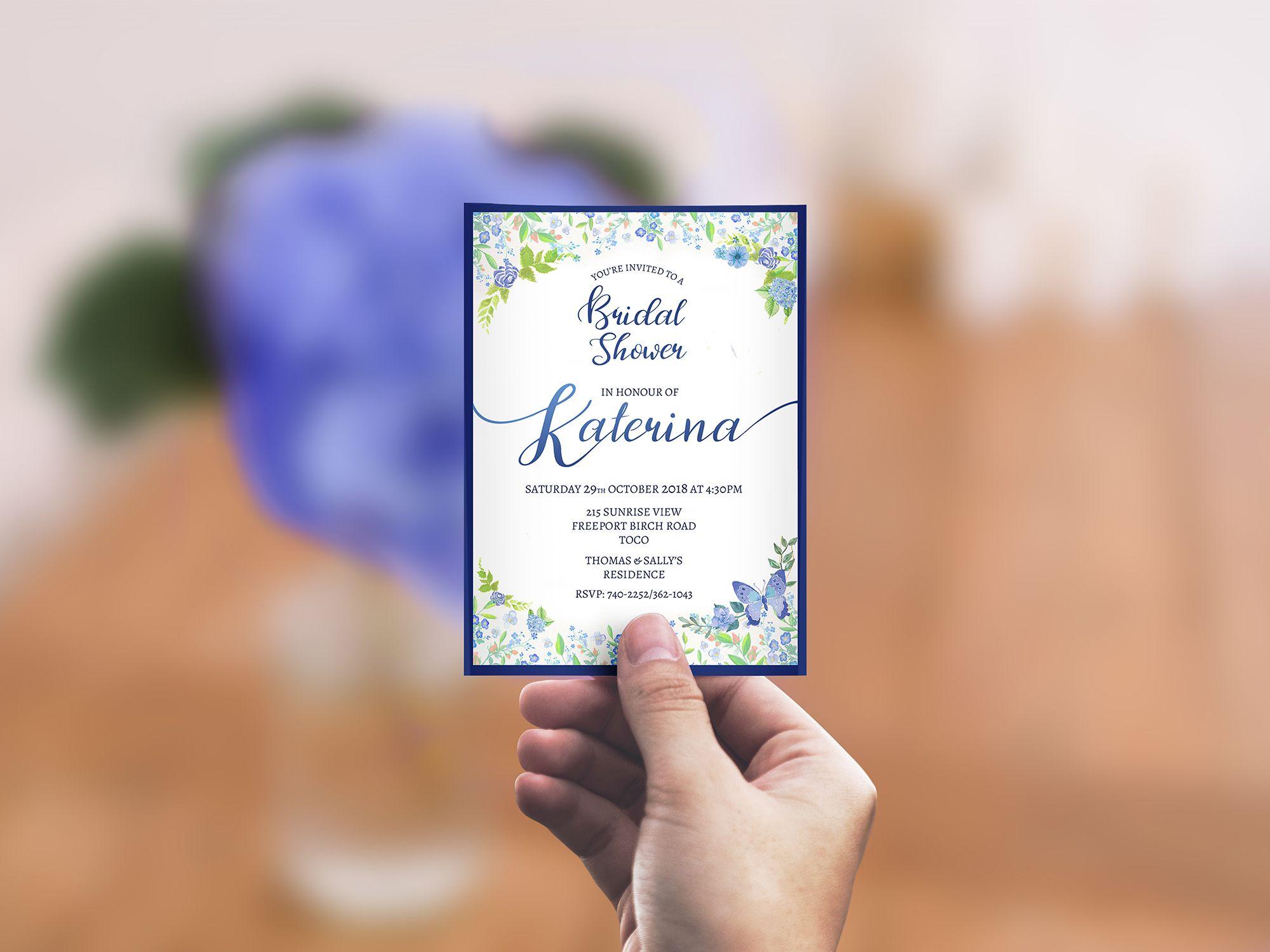 Katerina's Bridal Shower Invitation in hand